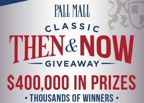 Enter the Pallmallusa Then and Now Giveaway at Pallmallusa.com for your chance to win $400,000 prizes and other exciting prizes.