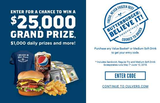 Culver's & Pepsi Sweepstakes