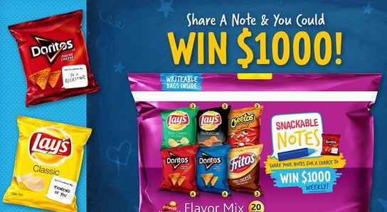 Frito Lay Snackable Notes Sweepstakes