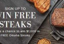 Omaha Steaks Quarterly Free Steaks Giveaway Sweepstakes