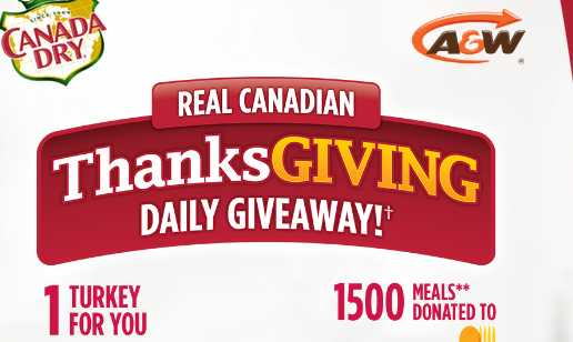 Canada Dry Real Canadian Thanksgiving Daily Giveaway Contest