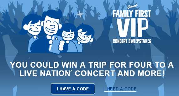 Culver's Family First VIP Concert Sweepstakes & Instant Win Game