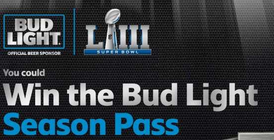 Bud Light Season Pass Sweepstakes Contest