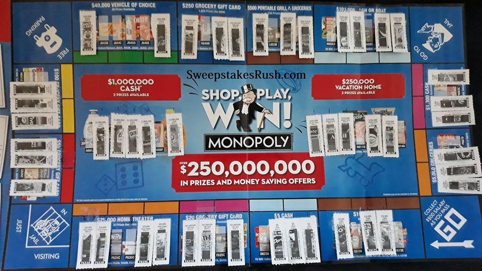 Safeway Monopoly Game Board 2020