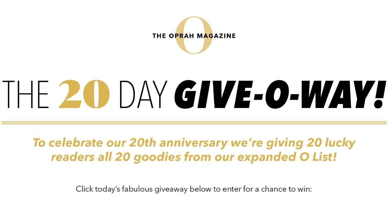 Oprah O List 20th Anniversary Give-O-way Sweepstakes 2020
