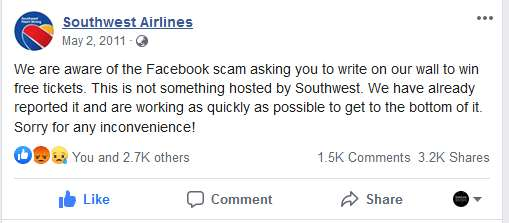 Southwest Airlines Said on Ticket Giveaway Facebook Scam