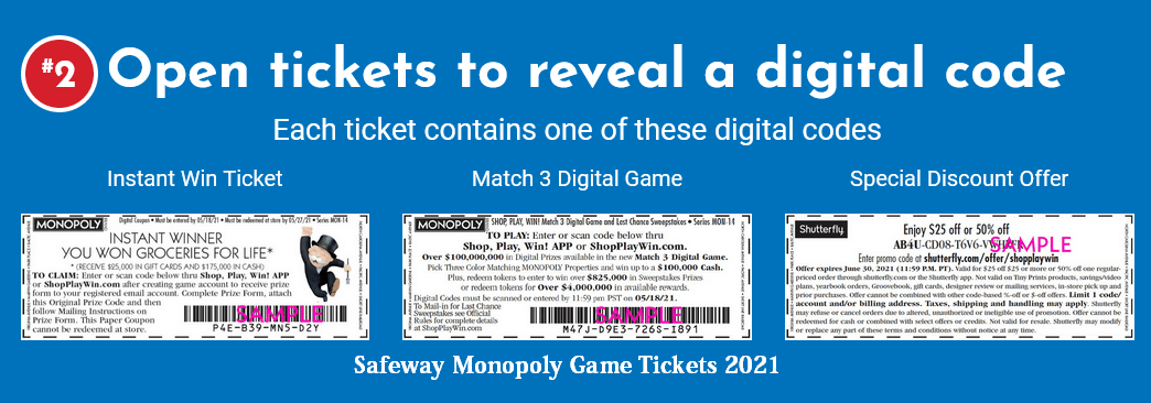 Safeway Monopoly Game Tickets 2021