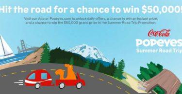 Popeyes Summer Road Trip Sweepstakes 2021
